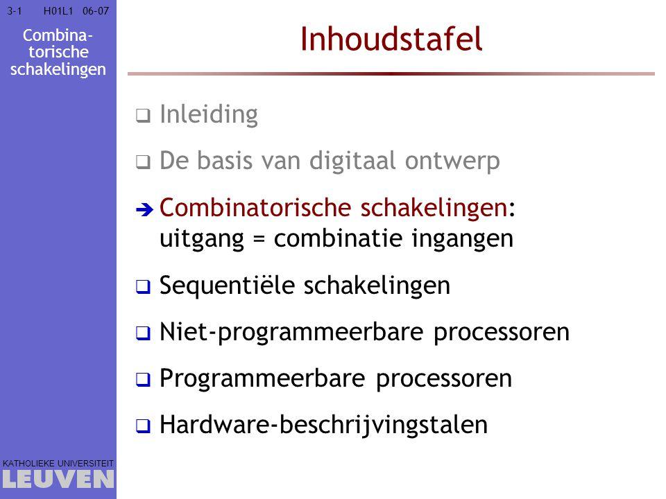 Combina- torische schakelingen KATHOLIEKE UNIVERSITEIT 3-2206–07H01L1 Bepaal priemimplicanten 11 11 11 11 11 11 w x y zz v y v'xy v'wy xyz wyz vxz vwz Minimalisering Karnaugh-kaart  Minimalisering  AND-OR  OR-AND Multi-uitgang Don t care Quine-McClusky Technologie Tijdsgedrag Basisblokken RTL