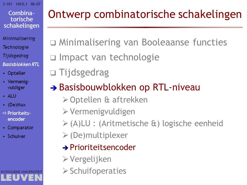 Combina- torische schakelingen KATHOLIEKE UNIVERSITEIT 3-10106–07H01L1 Ontwerp combinatorische schakelingen  Minimalisering van Booleaanse functies 