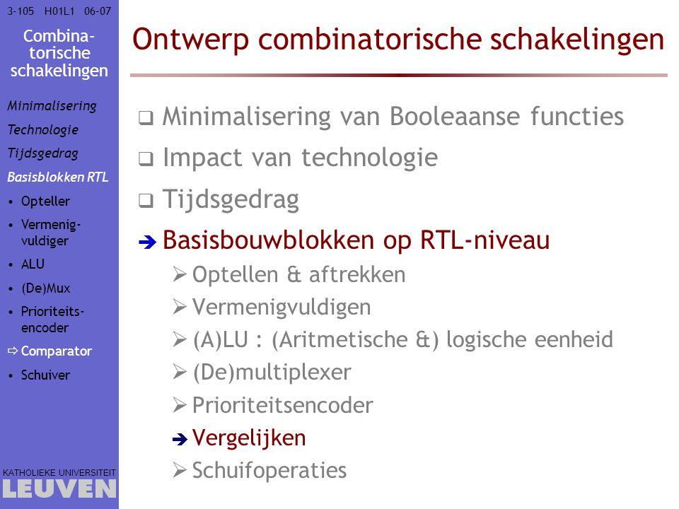 Combina- torische schakelingen KATHOLIEKE UNIVERSITEIT 3-10506–07H01L1 Ontwerp combinatorische schakelingen  Minimalisering van Booleaanse functies 