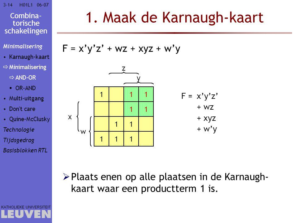 Combina- torische schakelingen KATHOLIEKE UNIVERSITEIT 3-1406–07H01L1 1. Maak de Karnaugh-kaart w x y z 1 1 F = x'y'z' + wz + xyz + w'y F =x'y'z' 1 1