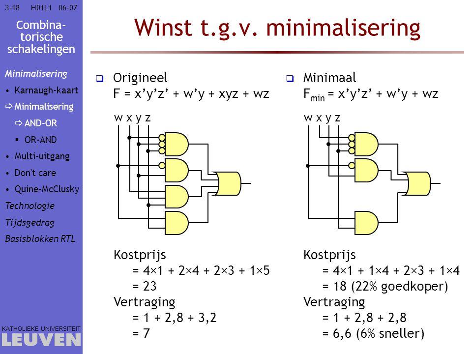 Combina- torische schakelingen KATHOLIEKE UNIVERSITEIT 3-1806–07H01L1 Winst t.g.v. minimalisering  Origineel F = x'y'z' + w'y + xyz + wz  Minimaal F
