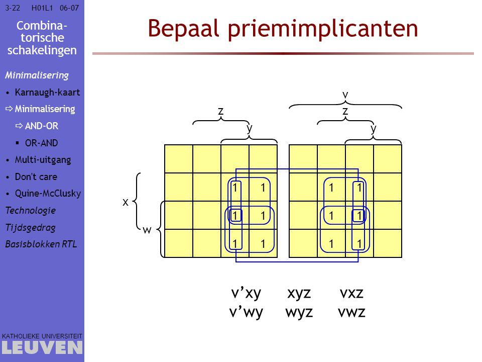 Combina- torische schakelingen KATHOLIEKE UNIVERSITEIT 3-2206–07H01L1 Bepaal priemimplicanten 11 11 11 11 11 11 w x y zz v y v'xy v'wy xyz wyz vxz vwz
