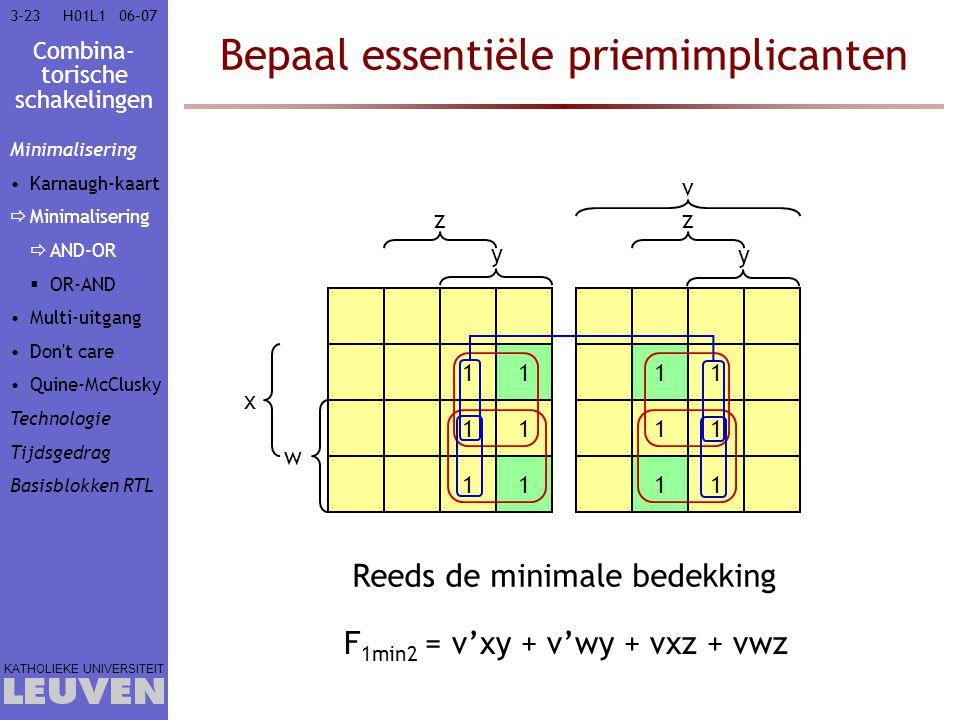 Combina- torische schakelingen KATHOLIEKE UNIVERSITEIT 3-2306–07H01L1 Bepaal essentiële priemimplicanten 11 11 11 11 11 11 w x y zz v y F 1min2 = v'xy