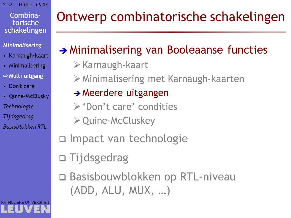 Combina- torische schakelingen KATHOLIEKE UNIVERSITEIT 3-3206–07H01L1 Ontwerp combinatorische schakelingen  Minimalisering van Booleaanse functies 