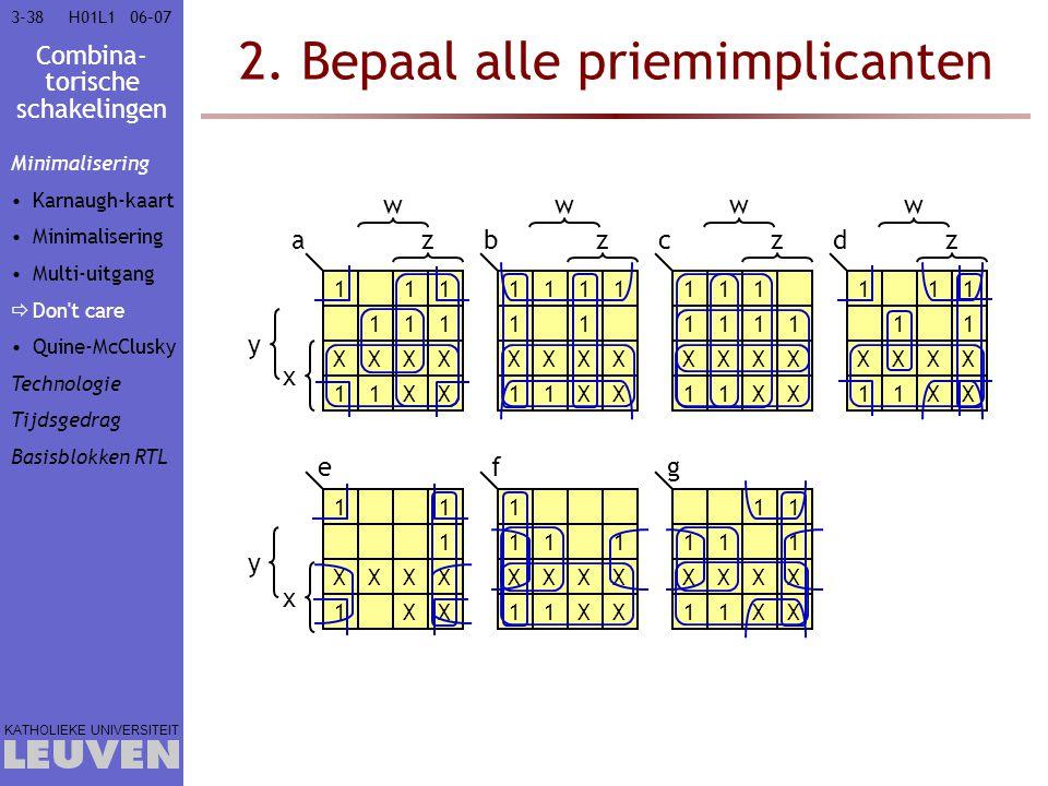 Combina- torische schakelingen KATHOLIEKE UNIVERSITEIT 3-3806–07H01L1 2. Bepaal alle priemimplicanten 111 111 XXXX 11XX 1111 11 XXXX 11XX 111 1111 XXX