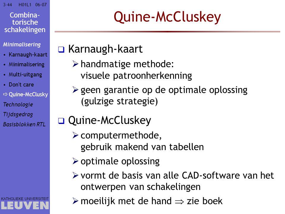 Combina- torische schakelingen KATHOLIEKE UNIVERSITEIT 3-4406–07H01L1 Quine-McCluskey  Karnaugh-kaart  handmatige methode: visuele patroonherkenning