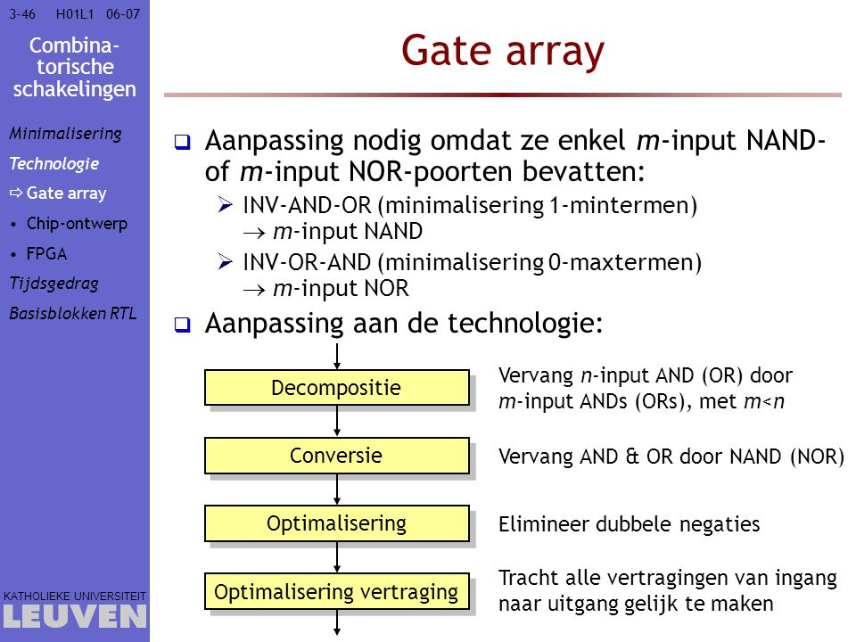 Combina- torische schakelingen KATHOLIEKE UNIVERSITEIT 3-4606–07H01L1 Gate array  Aanpassing nodig omdat ze enkel m-input NAND- of m-input NOR-poorte