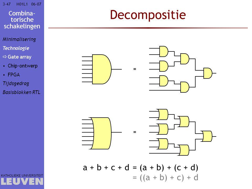 Combina- torische schakelingen KATHOLIEKE UNIVERSITEIT 3-4706–07H01L1 Decompositie = = Minimalisering Technologie  Gate array Chip-ontwerp FPGA Tijds