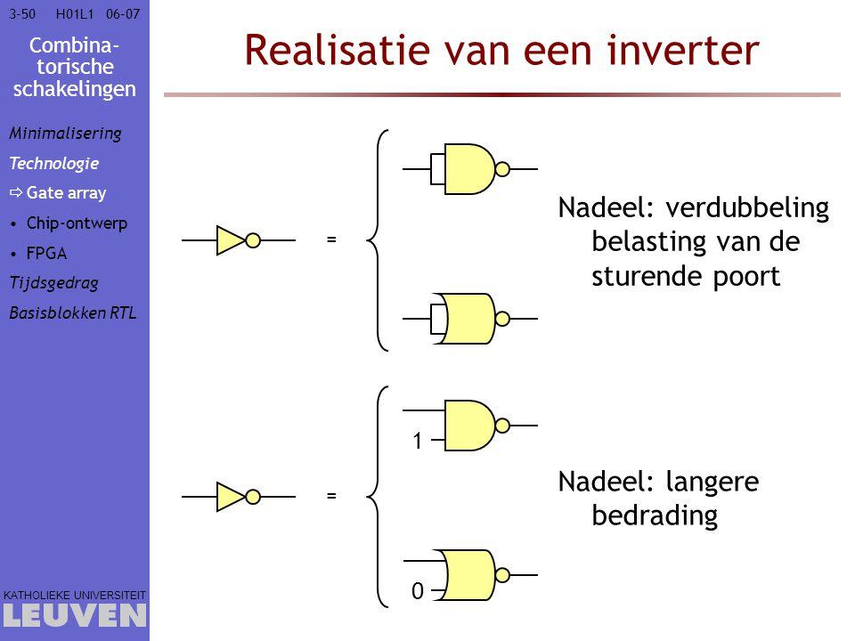 Combina- torische schakelingen KATHOLIEKE UNIVERSITEIT 3-5006–07H01L1 Realisatie van een inverter = Nadeel: verdubbeling belasting van de sturende poo