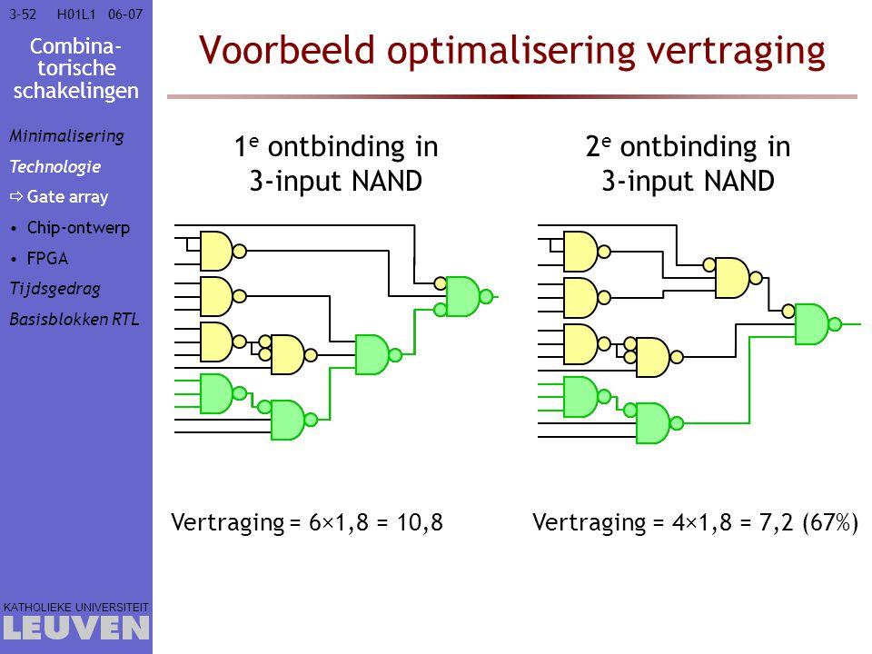 Combina- torische schakelingen KATHOLIEKE UNIVERSITEIT 3-5206–07H01L1 Voorbeeld optimalisering vertraging 1 e ontbinding in 3-input NAND 2 e ontbindin