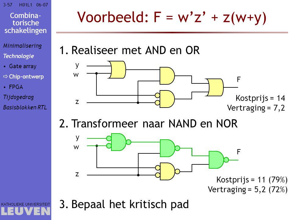 Combina- torische schakelingen KATHOLIEKE UNIVERSITEIT 3-5706–07H01L1 Voorbeeld: F = w'z' + z(w+y) 1.Realiseer met AND en OR 2.Transformeer naar NAND