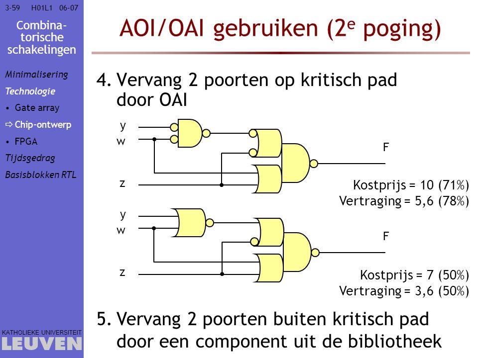 Combina- torische schakelingen KATHOLIEKE UNIVERSITEIT 3-5906–07H01L1 AOI/OAI gebruiken (2 e poging) 4.Vervang 2 poorten op kritisch pad door OAI 5.Ve