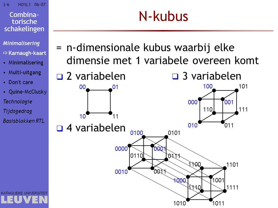 Combina- torische schakelingen KATHOLIEKE UNIVERSITEIT 3-73-706–07H01L1 Karnaugh-kaart =2-dimensionale voorstelling van n-kubus  elk vierkant heeft n buren  naburige vierkanten hebben slechts voor 1 variabele een verschillende waarde 000001 010011 100101 110111 000001 010011 101100 111110 Spiegeling  x'y'z'x'y'z xy'z'xy'z x 0 1 yz 0001 x'yzx'yz' xyzxyz' 1110 x y z x'z (y niet belangrijk) x'y'zx'yzxy'z'xyz' xz' (y niet belangrijk) xy'z'xy'z xy' (z niet belangrijk) Minimalisering  Karnaugh-kaart Minimalisering Multi-uitgang Don t care Quine-McClusky Technologie Tijdsgedrag Basisblokken RTL