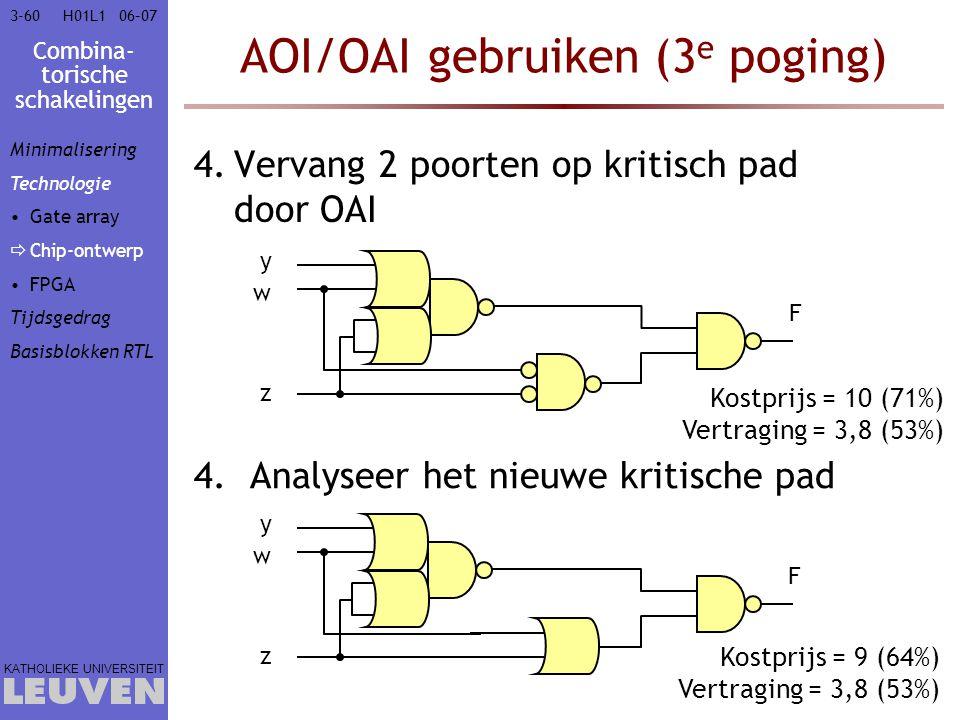 Combina- torische schakelingen KATHOLIEKE UNIVERSITEIT 3-6006–07H01L1 AOI/OAI gebruiken (3 e poging) 4.Vervang 2 poorten op kritisch pad door OAI 4.An