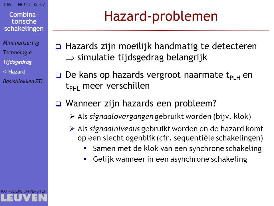 Combina- torische schakelingen KATHOLIEKE UNIVERSITEIT 3-6906–07H01L1 Hazard-problemen  Hazards zijn moeilijk handmatig te detecteren  simulatie tij