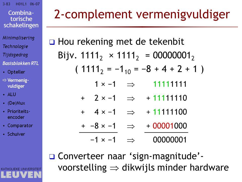 Combina- torische schakelingen KATHOLIEKE UNIVERSITEIT 3-8306–07H01L1 2-complement vermenigvuldiger  Hou rekening met de tekenbit Bijv. 1111 2 × 1111