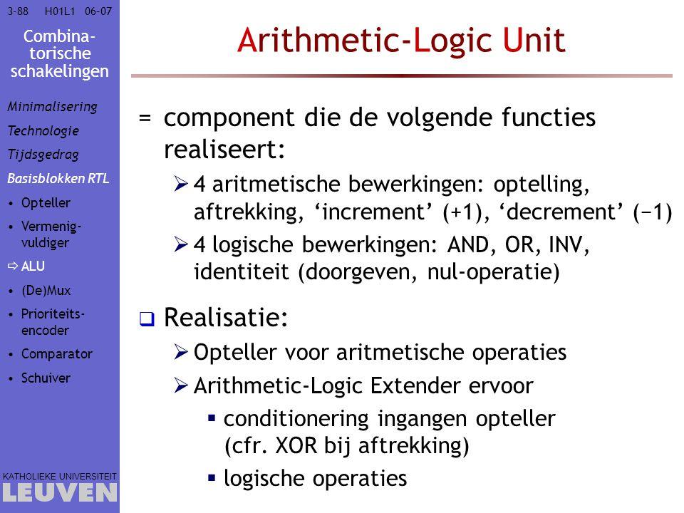 Combina- torische schakelingen KATHOLIEKE UNIVERSITEIT 3-8806–07H01L1 Arithmetic-Logic Unit =component die de volgende functies realiseert:  4 aritme
