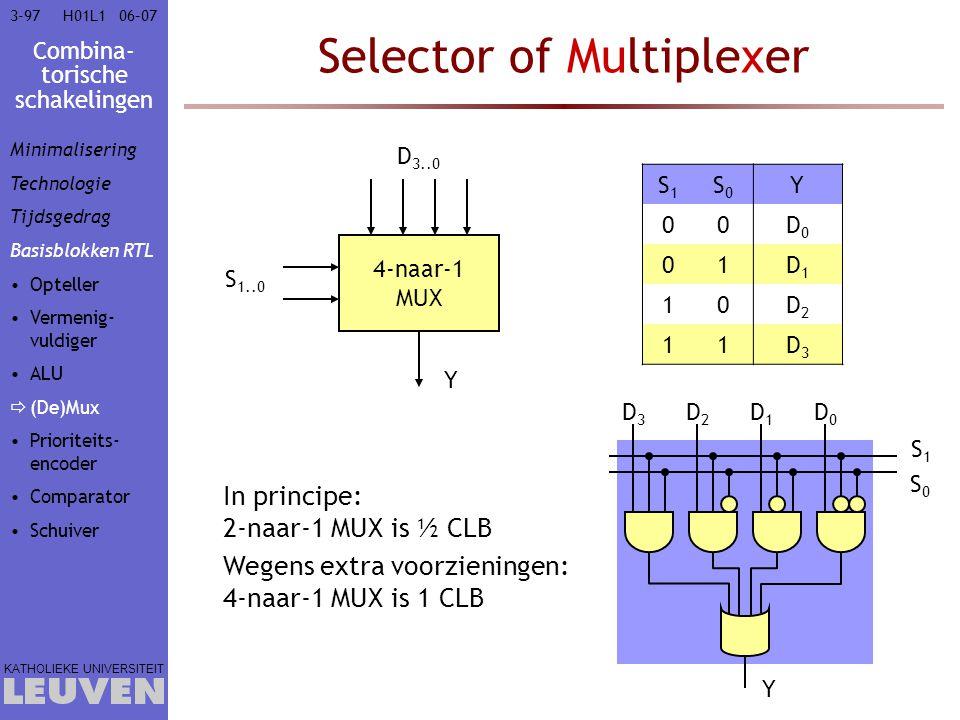 Combina- torische schakelingen KATHOLIEKE UNIVERSITEIT 3-9706–07H01L1 Selector of Multiplexer 4-naar-1 MUX D 3..0 S 1..0 Y In principe: 2-naar-1 MUX i