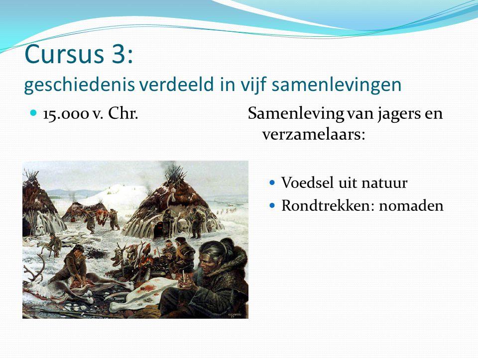 Cursus 3: geschiedenis verdeeld in vijf samenlevingen 15.000 v. Chr.Samenleving van jagers en verzamelaars: Voedsel uit natuur Rondtrekken: nomaden
