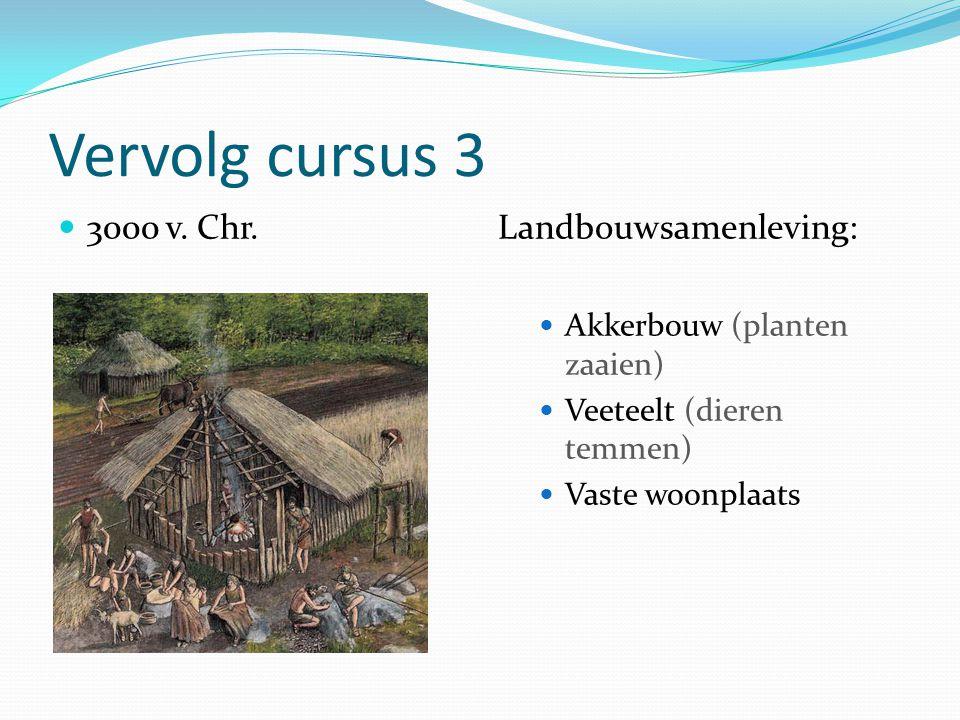 Vervolg cursus 3 3000 v. Chr.Landbouwsamenleving: Akkerbouw (planten zaaien) Veeteelt (dieren temmen) Vaste woonplaats