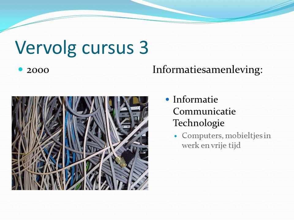 Vervolg cursus 3 2000Informatiesamenleving: Informatie Communicatie Technologie Computers, mobieltjes in werk en vrije tijd