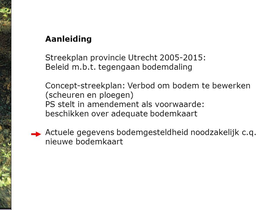 Aanleiding Streekplan provincie Utrecht 2005-2015: Beleid m.b.t. tegengaan bodemdaling Concept-streekplan: Verbod om bodem te bewerken (scheuren en pl