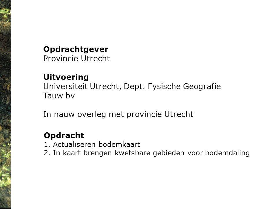 Opdrachtgever Provincie Utrecht Uitvoering Universiteit Utrecht, Dept. Fysische Geografie Tauw bv In nauw overleg met provincie Utrecht Opdracht 1. Ac