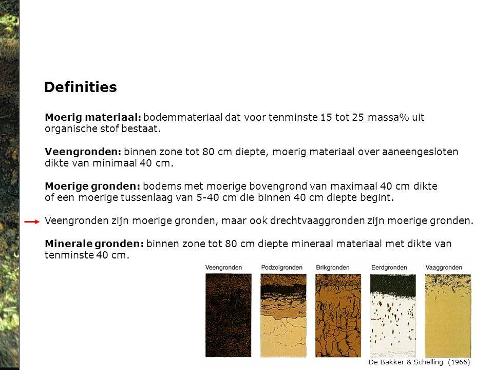 Definities Moerig materiaal: bodemmateriaal dat voor tenminste 15 tot 25 massa% uit organische stof bestaat. Veengronden: binnen zone tot 80 cm diepte
