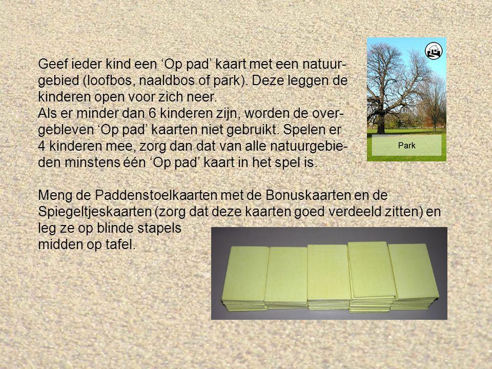 Geef ieder kind een 'Op pad' kaart met een natuur- gebied (loofbos, naaldbos of park).