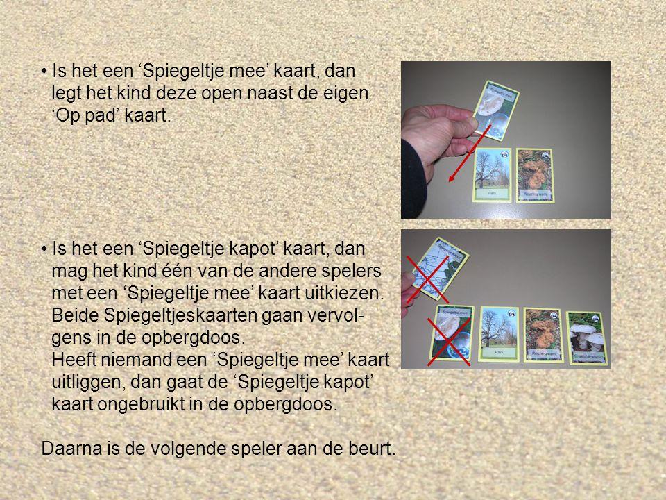 Is het een 'Spiegeltje mee' kaart, dan legt het kind deze open naast de eigen 'Op pad' kaart.