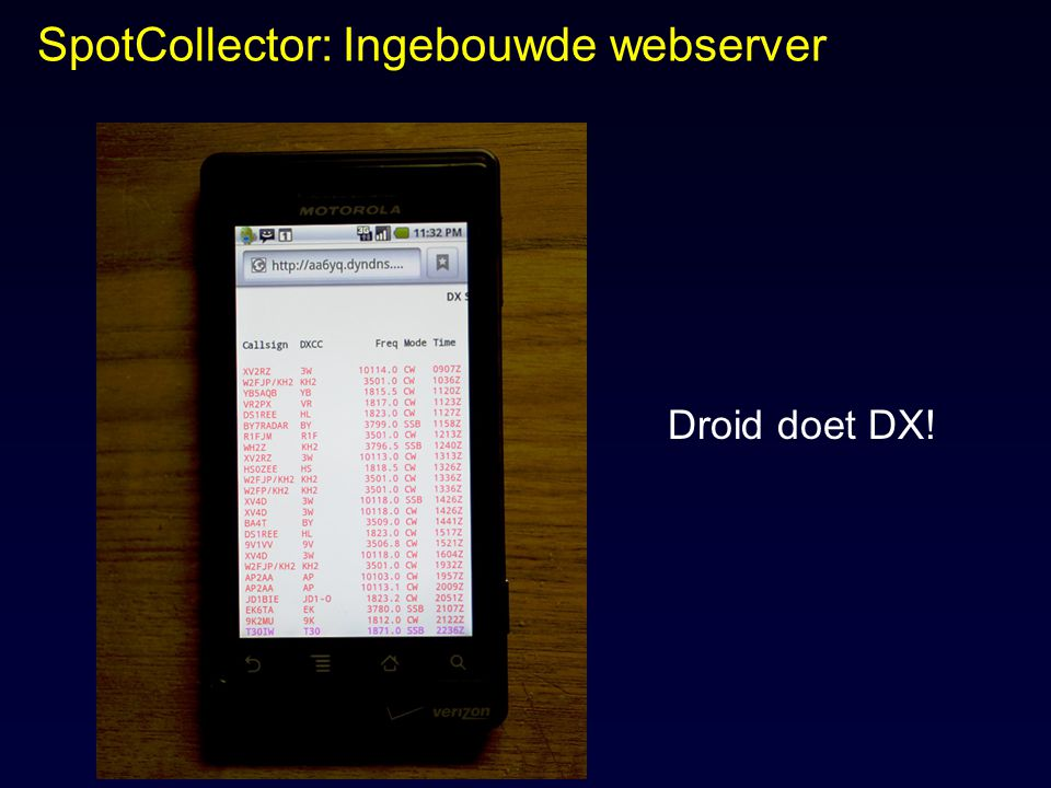 SpotCollector: Ingebouwde webserver Droid doet DX!