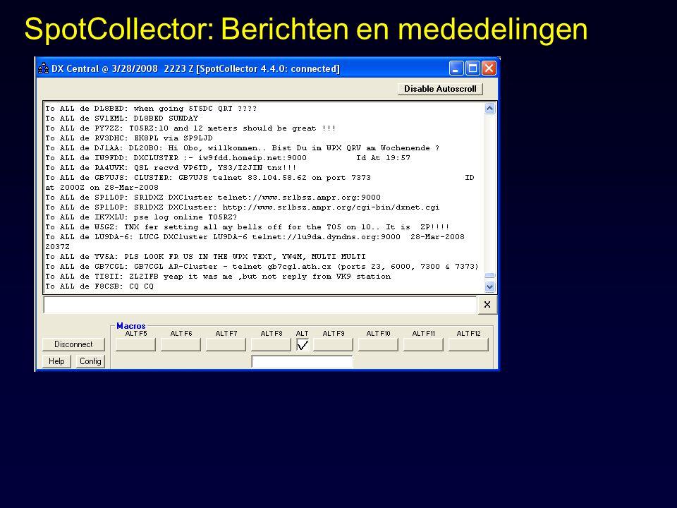 SpotCollector: Berichten en mededelingen