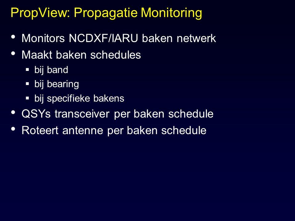 PropView: Propagatie Monitoring Monitors NCDXF/IARU baken netwerk Maakt baken schedules  bij band  bij bearing  bij specifieke bakens QSYs transcei