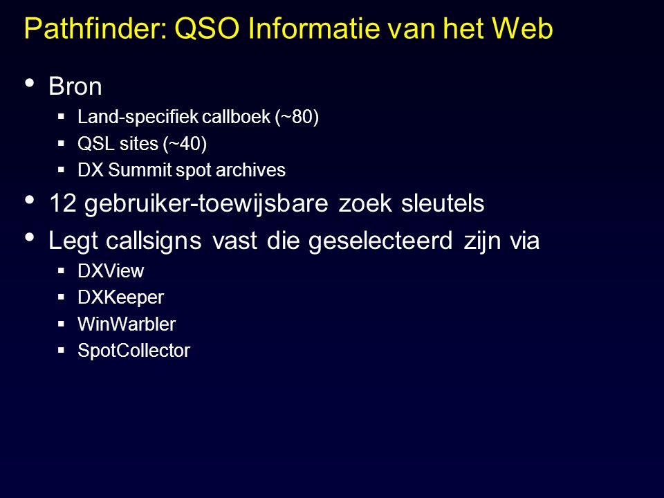 Pathfinder: QSO Informatie van het Web Bron  Land-specifiek callboek (~80)  QSL sites (~40)  DX Summit spot archives 12 gebruiker-toewijsbare zoek