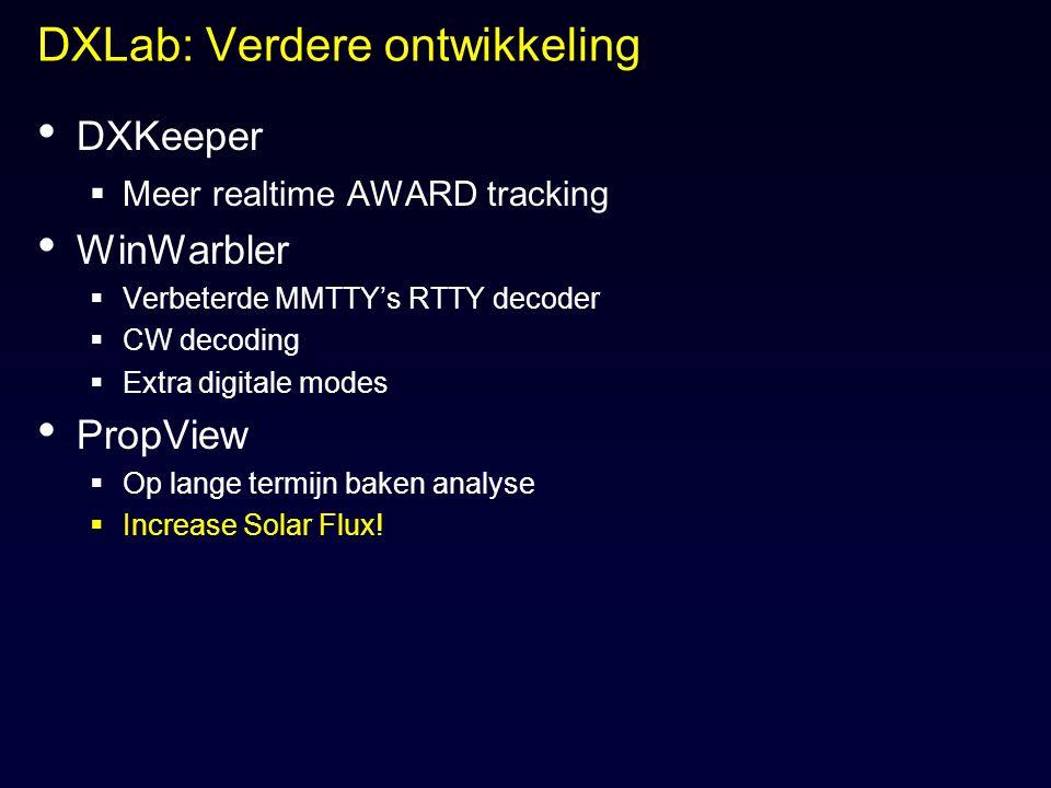 DXLab: Verdere ontwikkeling DXKeeper  Meer realtime AWARD tracking WinWarbler  Verbeterde MMTTY's RTTY decoder  CW decoding  Extra digitale modes