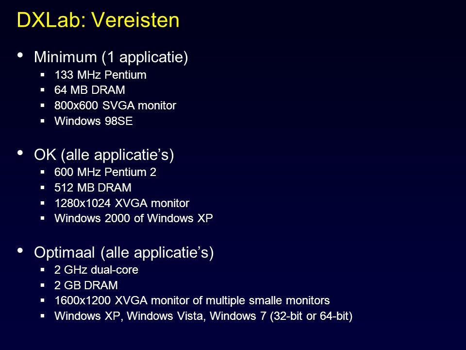 DXLab: Vereisten Minimum (1 applicatie)  133 MHz Pentium  64 MB DRAM  800x600 SVGA monitor  Windows 98SE OK (alle applicatie's)  600 MHz Pentium