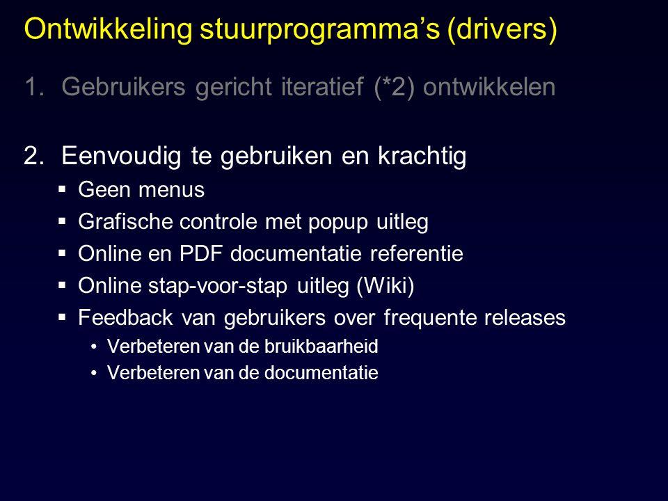Ontwikkeling stuurprogramma's (drivers) 1.Gebruikers gericht iteratief (*2) ontwikkelen 2.Eenvoudig te gebruiken en krachtig  Geen menus  Grafische