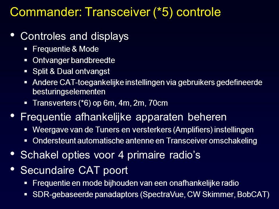 Commander: Transceiver (*5) controle Controles and displays  Frequentie & Mode  Ontvanger bandbreedte  Split & Dual ontvangst  Andere CAT-toeganke