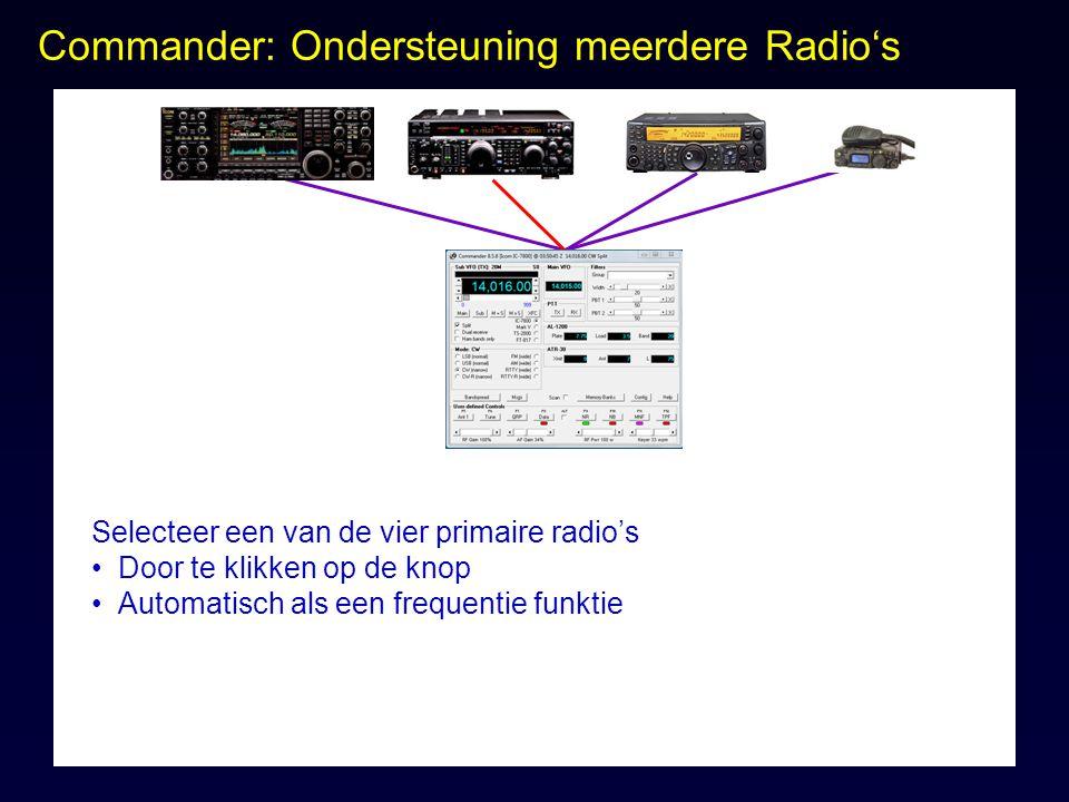 Commander: Ondersteuning meerdere Radio's Selecteer een van de vier primaire radio's Door te klikken op de knop Automatisch als een frequentie funktie