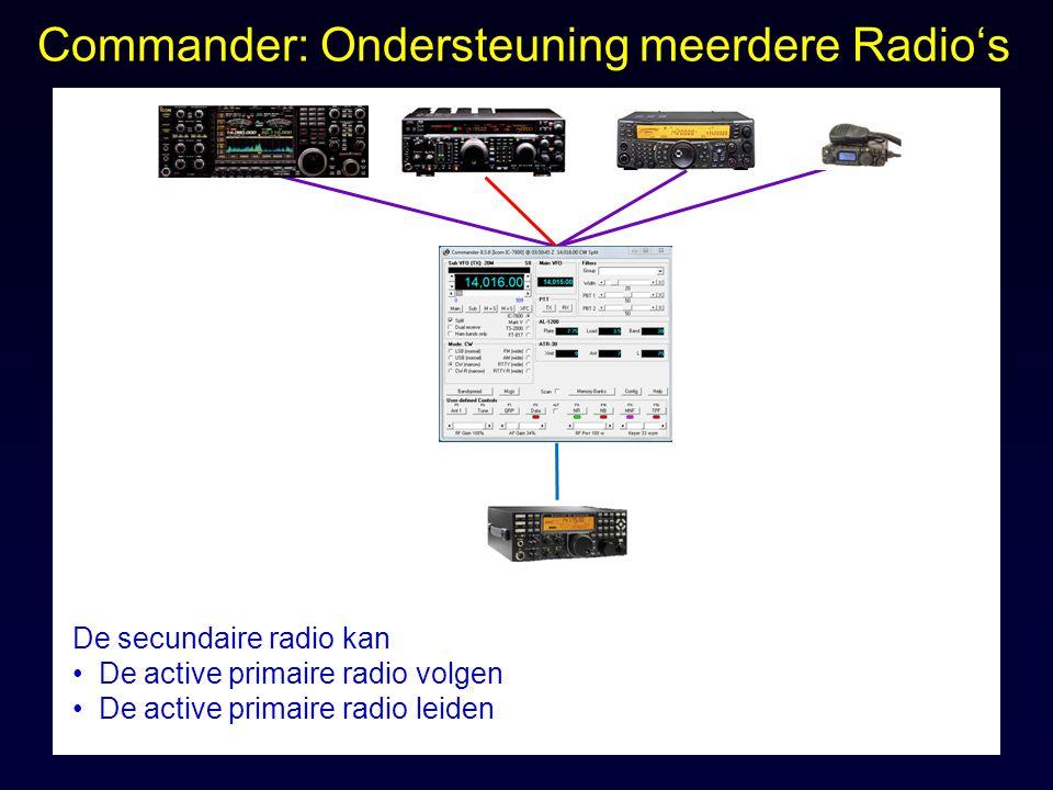 Commander: Ondersteuning meerdere Radio's De secundaire radio kan De active primaire radio volgen De active primaire radio leiden