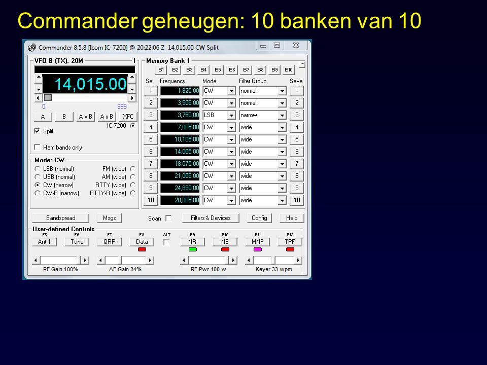Commander geheugen: 10 banken van 10