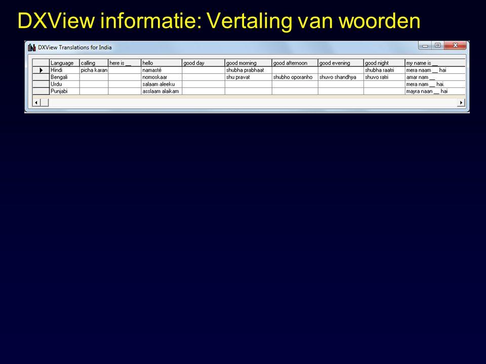 DXView informatie: Vertaling van woorden