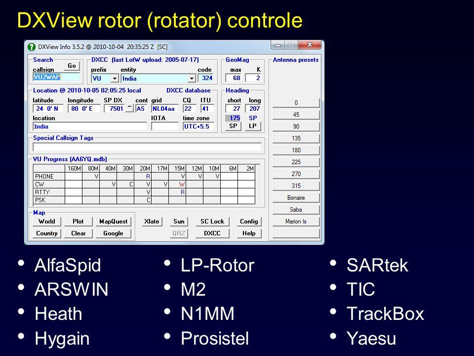 DXView rotor (rotator) controle AlfaSpid ARSWIN Heath Hygain LP-Rotor M2 N1MM Prosistel SARtek TIC TrackBox Yaesu