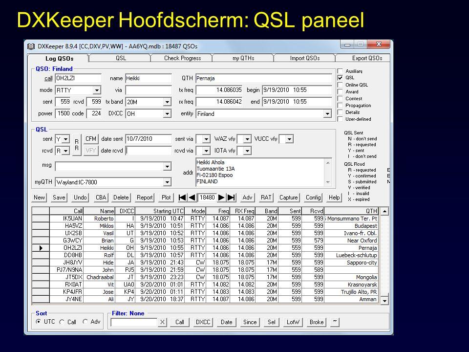 DXKeeper Hoofdscherm: QSL paneel