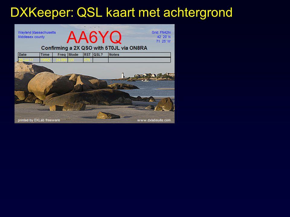 DXKeeper: QSL kaart met achtergrond
