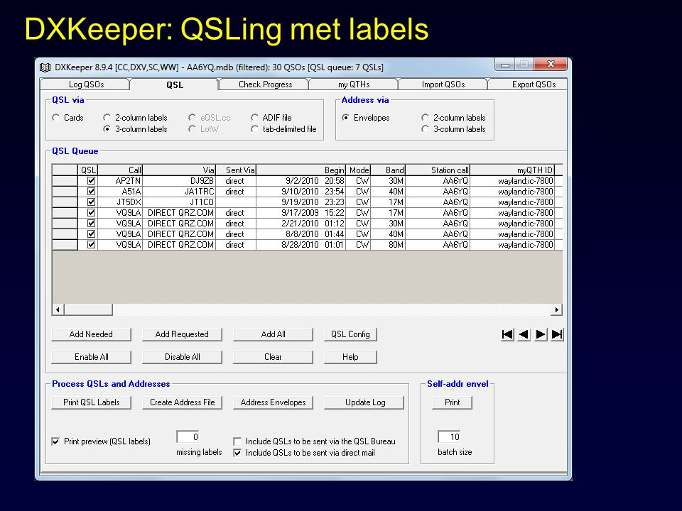 DXKeeper: QSLing met labels
