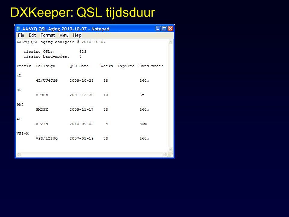 DXKeeper: QSL tijdsduur