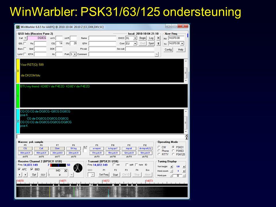 WinWarbler: PSK31/63/125 ondersteuning