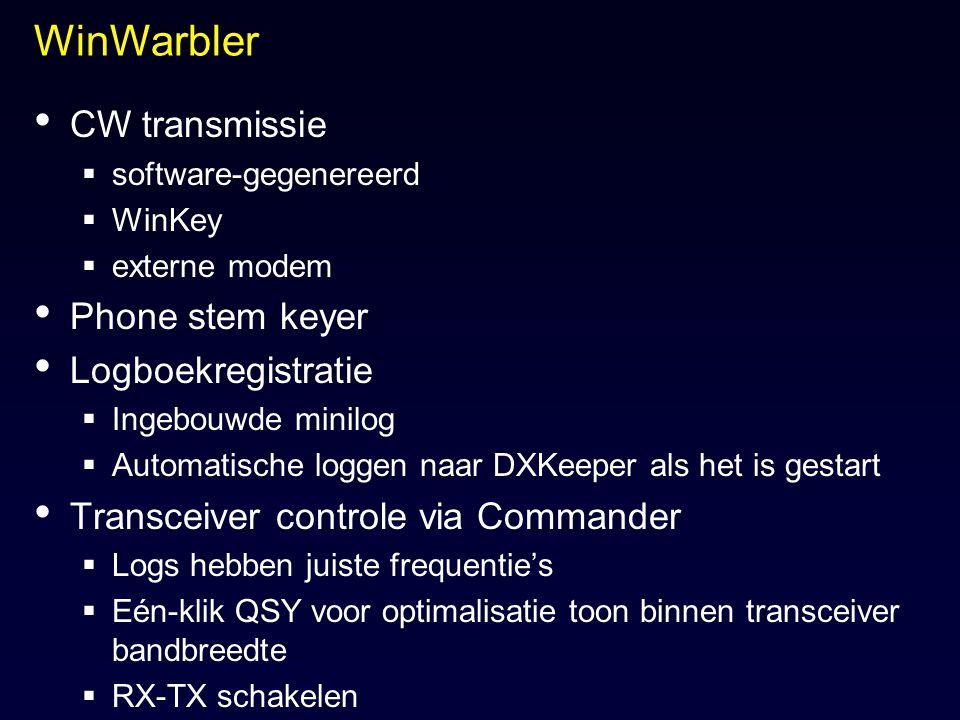 WinWarbler CW transmissie  software-gegenereerd  WinKey  externe modem Phone stem keyer Logboekregistratie  Ingebouwde minilog  Automatische logg