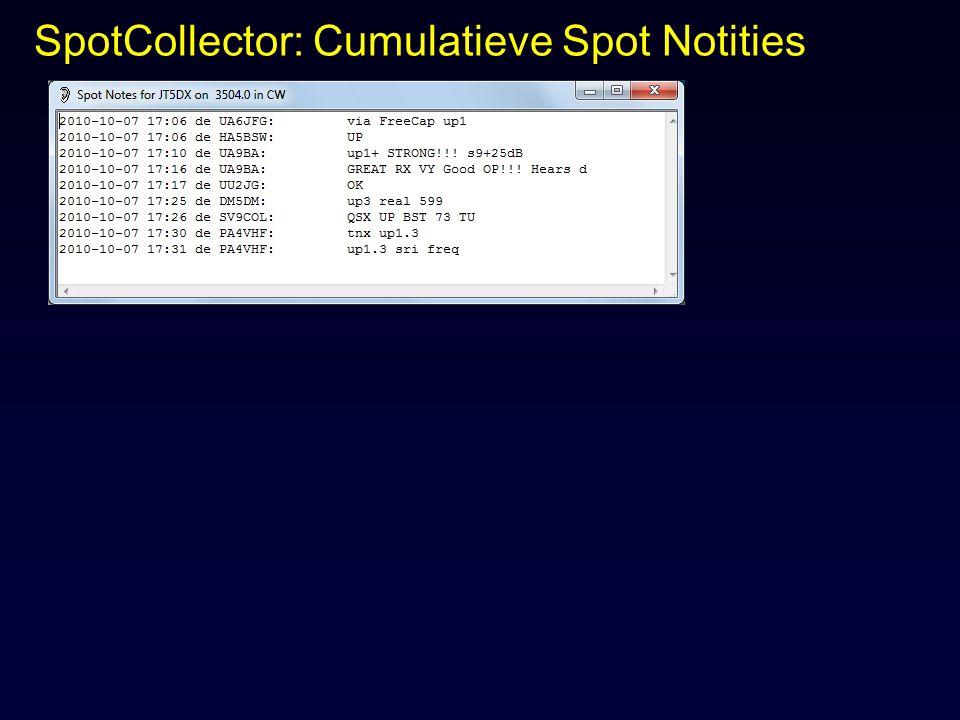 SpotCollector: Cumulatieve Spot Notities
